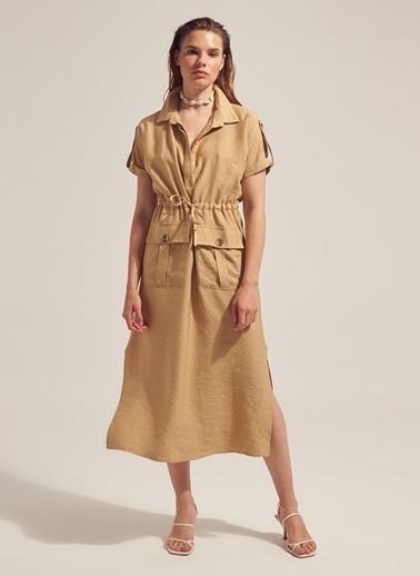 Monamoda Keten Kumaşlı Cep Detaylı Elbise Bej